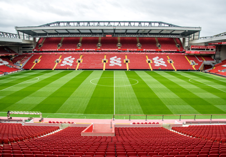 The Anfield Stadium, home of Liverpool FC.  The stands are empty in the photo, but they are sure to be full come Sunday when the crosstown rival Everton visits.
