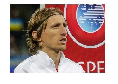 World Cup Qualifying - Europe - Luka Modric of Croatia during national anthem.