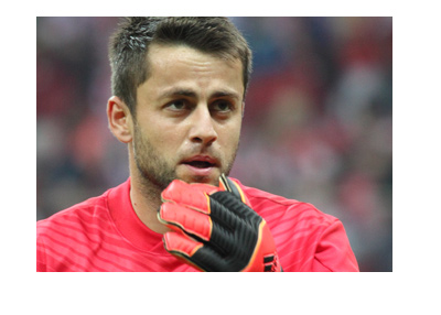 Swansea City goalkeeper - Lukasz Fabianski - Worried look on his face.  Chin rub.