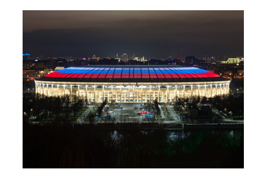The World Cup 2018 final stadium - Luzhniki - Moscow.  Photo taken at night.  Illuminated in blue and red.