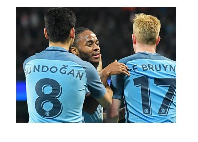Manchester City FC players - Raheem Sterling, Ilkay Gundogan and Kevin de Bruyne.  Celebrating a goal.