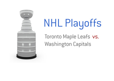 The 2017 NHL Playoffs - Toronto Maple Leafs vs. Washington Capitals - Stanley Cup trophy image.  Who will win?