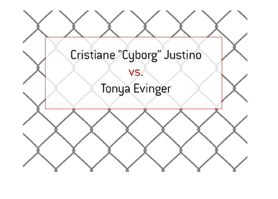 Cris Cyborg Justino vs. Tonya Evinger.  MMA fight.  Female featherweight division.