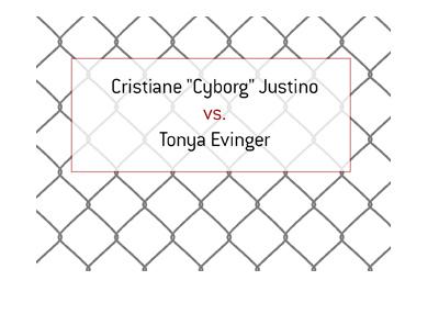 Cris Cyborg Justino vs. Tonya Evinger.  MMA fight.  Female featherweight division.