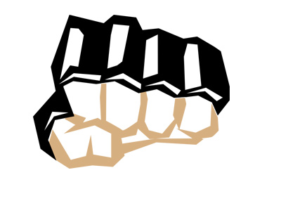 The MMA glove - Clinched fist - In your face.