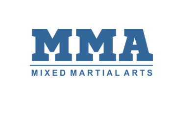 Mixed Martial Arts - MMA - Lettering - Blue colour.