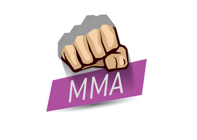 MMA fight - Girl version - Purple / pink banner - Illustration.