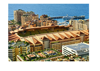 Photograph of AC Monaco Stadium in Monte Carlo.  The day is sunny and clear.