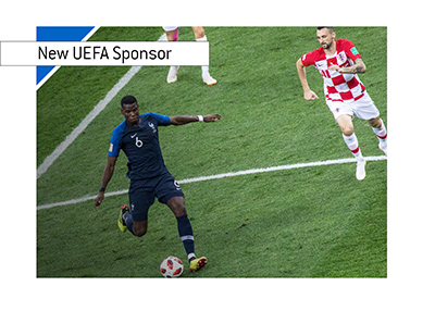 UEFA adds new national team sponsor - Alipay - Year is 2018.  Pictured France vs. Croatia - The 2018 World Cup final.