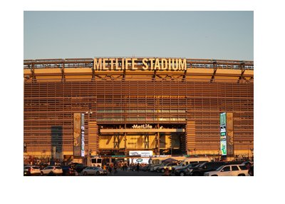 Met Life Stadium, the home of the New York Giants.  Sunset photo.