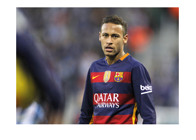 Stock photo of Neymar Junior in a Barcelona FC shirt.  Looking serious.