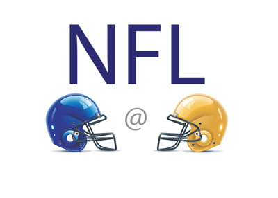 The NFL matchup between New York Giants and Green Bay Packers presented as a clash of helmets.
