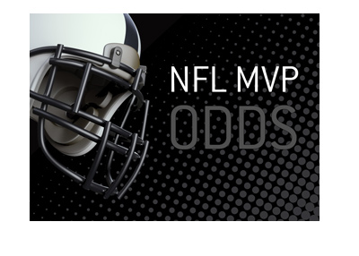 The NFL MVP Odds - Helmet and text on dark background.