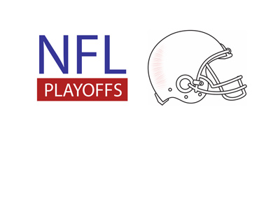 NFL Playoffs are here - Text next to a white helmet.