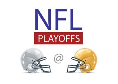 The NFL Playoffs - Dallas Cowboys vs. Greenbay Packers. Lettering.