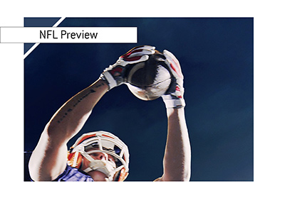 Football player is catching a ball in mid air.  The preview is here for the upcoming week in the american football world.