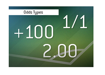 The three types of sports betting odds.  American, Fractional and Decimal.