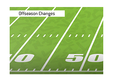 Noteworthy offseason changes in the largest American football league and their impact on winning odds.