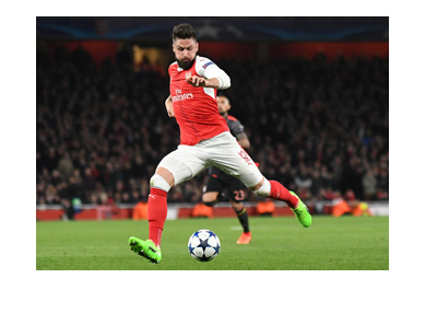 The Arsenal FC striker, Olivier Giroud, in action.  Europa League match vs. Ostersund is coming up in the Round of 32.