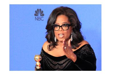 Oprah Winfrey at the NBC Golden Globe Awards 2018.  Holding her prize.