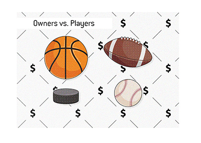 The money split between owners and players in North American Sports - Illustration.
