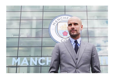 Promotional photo of Pep Guardiola in front of the Manchester City stadium ahead of the 2016/17 season