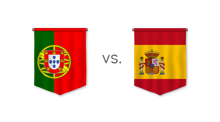 World Cup betting - Portugal vs. Spain - Favourite to win - Odds - Nation flags.
