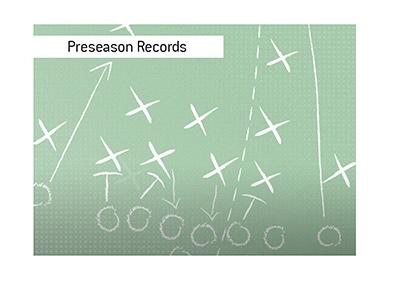 American professional football preseason betting.  Win/loss records of coaches.