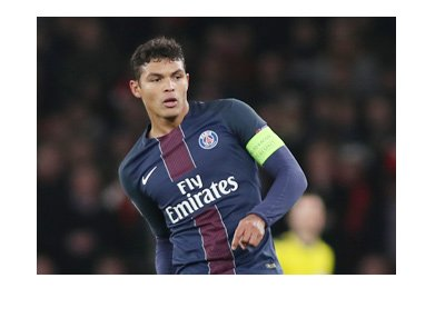 The Paris Saint-Germain captain - Thiago Silva - In action.