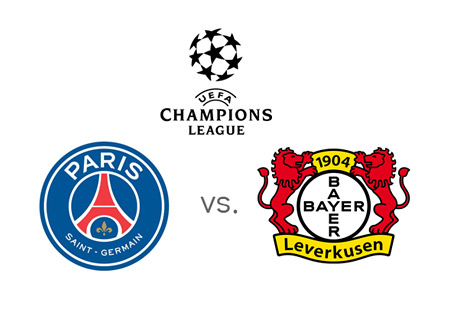UEFA Champions League Matchup - PSG (Paris Saint-Germain) vs. Bayer Leverkusen - Team Jersey Crests / Badges