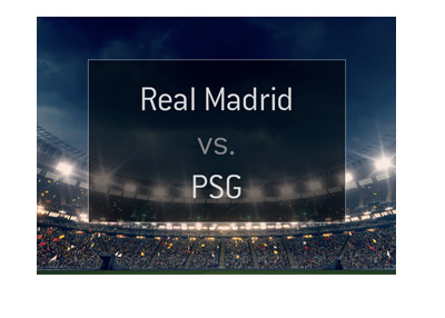 Matchup and preview for the upcoming game between Real Madrid and Paris Saint-Germain.  Graphic / illustration.