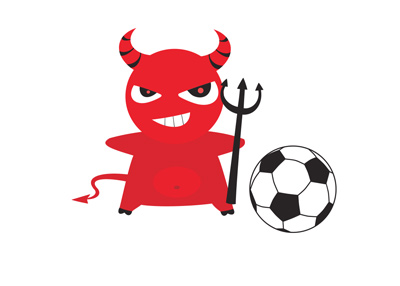The Manchester United red devil next to a football. Cartoon.