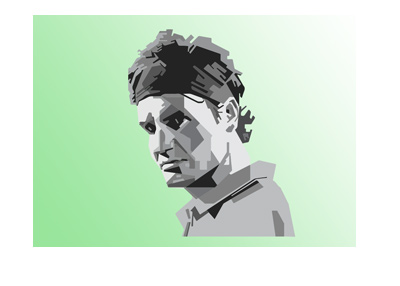 Roger Federer - Geometric shapes illustration - Green background.