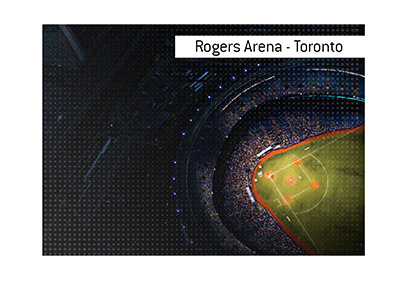 The home of the Toronto Blue Jays - The Rogers Arena in Toronto.  Arial view at night.