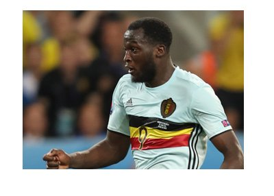 Romelu Lukaku in action for the Belgium national team.  Wearing the white kit.
