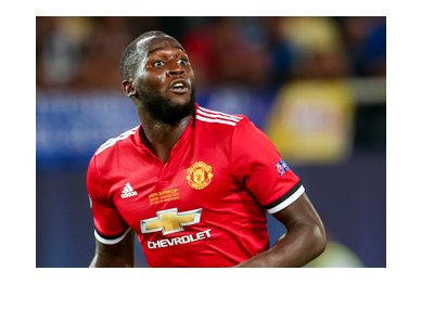 Romelu Lukaku in action for Manchester United.  Wearing the hot red home kit.  The year is 2017.