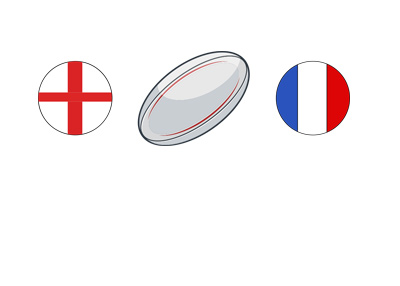 Rugby match between England and France - Ball illustration and nation flags (rounded).
