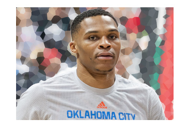 Russell Westbrook of Oklahoma Thunder - Pre match warmup.