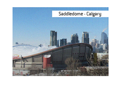 The home of Calgary Flames - Scotiabank Saddledome - Photo taken on a sunny winter day.