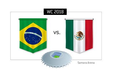 Brazil vs. Mexico match takes place at Samara Srena - 2018 Russia World Cup - Round of 16 - Betting odds and match preview.