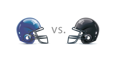Helmets facing.  Seattle Seahawks vs. Atlanta Falcons.  Blue vs. Black.