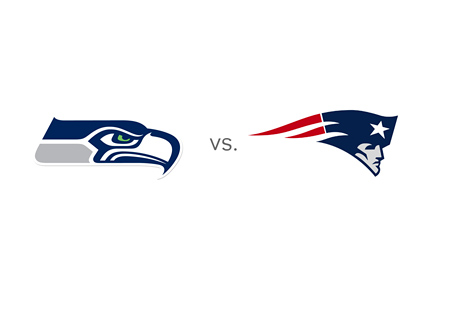 Seattle Seahawks vs. New England Patriots - Team Logos - Matchup - Superbowl 2015