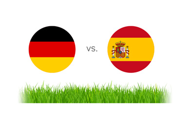 Germany vs. Spain - Football match - Illustration - Flags.