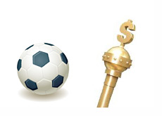 Soccer ball in 3d next to Kings Money Stick