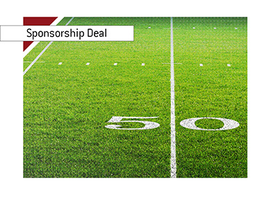 NFL signs a sponsorship deal with Caesars Entertainment.  American football.  50 yard line.