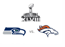 Superbowl XLVIII - 2014 - Logo - Seattle Seahawks vs. Denver Broncos - Team Logos - Final Matchup