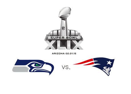 Superbowl 2015 - Seattle Seahawks vs. New England Patriots - Team Logos - Matchup - XLIX