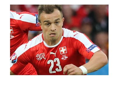 Switzerland soccer player - Xherdan Shaqiri - In action for his country.