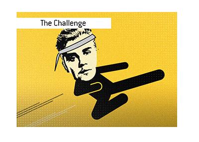 The Justin Bieber MMA challenge.  Illustration.