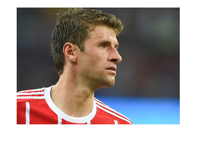 Bayern Munich legend - Thomas Muller - Photographed during a match in the 2017-18 season.  Wearing the home colours.